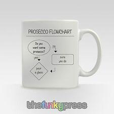 Prosecco flow-chart Becher Tasse Tee Kaffee Neuheit Lustiges Motto Geschenk