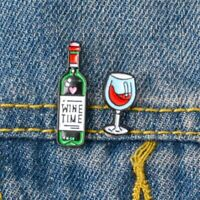 Mini Cute Wine Bottle Glass Couple Lovers Pins Brooches Enamel Badge Collar