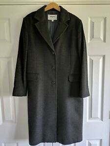 100% Cashmere Grey Longline Coat Johnston's of Elgin size 16 RRP £500