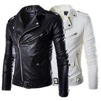Fashion Men's Black Slim Fit PU Leather Jacket Coat Biker Motorcycle Outerwear