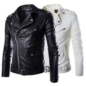 Fashion Men Slim Faux Leather Biker Motorcycle Jacket Bomber Coat Windbreaker
