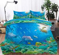 Great Cute Dolphin 3D Quilt Duvet Doona Cover Set Single Double Queen King Print