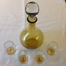 Amber Cordial Set Carafe Decanter with 4 Glasses - Hand Blown