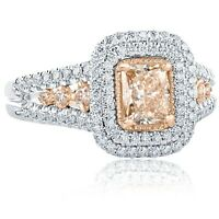 GIA Very Light Brown Radiant Cut 1.52 Ct Diamond Engagement Ring 14k White Gold