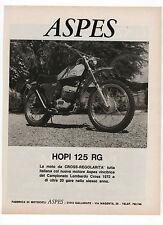 Pubblicità epoca 1973 ASPES HOPI 125 RG MOTO CROSS MOTOR advert werbung reklame