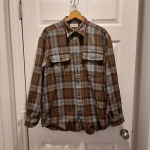 Vintage L.L. Bean Men's Medium Button Front Plaid Shirt 100% Cotton