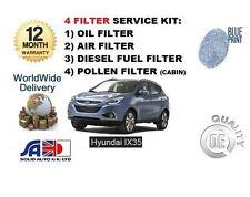 Per HYUNDAI ix35 2.0 DT CRDi 2010 -- & GT Servizio Kit Olio Aria Carburante Polline Filtro impostato