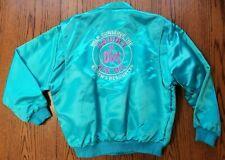 Vintage Cg Vegas Teal Blue Faux Satin Bomber Logo 70's Disco Jacket Women Sz Xl