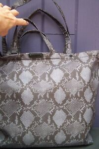 Rebecca Minkoff Black Gray Snake Print Nylon Tote Bag – New