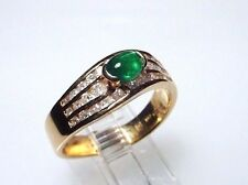 Genuine Emerald Ring with Diamonds,Solid 14-Kt Gold Size 6.25, Gorgeous (#3420)