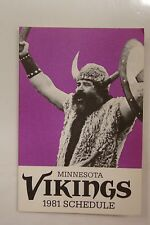 1981 MINNESOTA VIKINGS TWIN CITY FEDERAL NFL FOOTBALL POCKET SCHEDULE