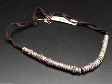 Fossil Mixed Metal Leather Boyfriend Necklace Rondel Beads Pave Crystals New!