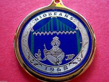 Rare 1968 Niobeans Gold+Silver on Blue Laminated Bronze Mardi Gras Badge