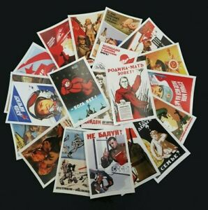20 Soviet Russian Propaganda Posters - Stickers GAGARIN, WW2, COLD WAR, ALKO