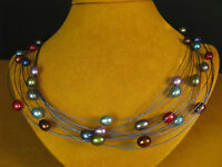 HONORA PEARL NECKLACE STRAND STRING BLUE MULTICOLOR SS WIRE Gift