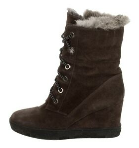 $695 AQUATALIA Cordelia sz 9 8.5 Fur Shearling Lined Wedge Platform Combat Boot