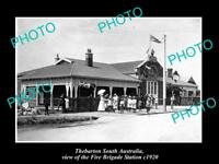OLD LARGE HISTORIC PHOTO OF THEBARTON SA, THE FIRE BRIGADE STATION c1920