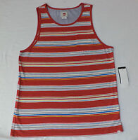 NWT Quiksilver Sleeveless Red w/Multi-Colored Stripes Pocket Tank Top  L    F106