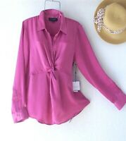 New~$89~Orchid Pink Rose Blouse Shirt Twist Front Boho Top~Size XL