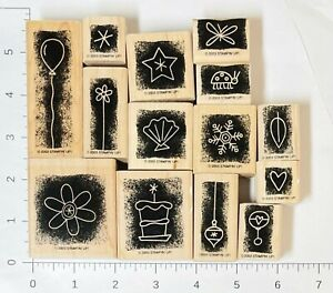 Stampin' Up! Stippled Celebrations Set 14 Rubber Stamps All Occasions in Shadow