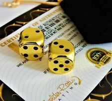 24ct Gold Plated Casino Dice 6D Monopoly Board Game Backgammon Gift Bag 24K