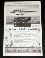 1930 OLD MAGAZINE PRINT AD, STARRETT TOOLS, A YACHT TAKES WING, FLYING BOAT ART!