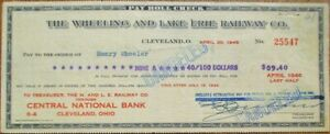 Wheeling & Lake Erie Railway Co. 1946 Railroad Bank Check - Cleveland, OH - WV