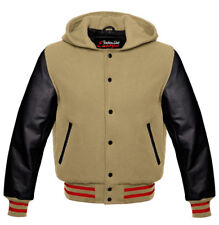 Nice Quality Jacket Baseball HOODIE in wool with hood and cowhide arms