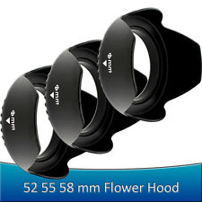 58MM 55MM 52MM Tulip Petal Flower Lens Hood for Canon Sony or Nikon Camera DLSR