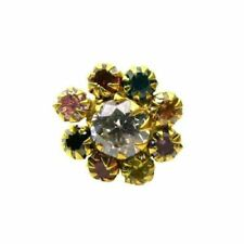 Classic Multicolor CZ Body Piercing Nose stud Pin Solid Real 14k Yellow Gold