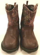 Realtree Outdoors Brown Camo BOOTS Shoes Farm Ranch Hunt Chores Toddler Boys 5M
