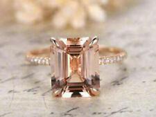 3 Ct Emerald Cut Morganite Diamond Solitaire Engagement Ring 14K Rose Gold Over