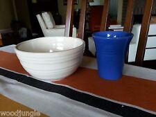 Antique  McCOY WHITE RINGWARE POTTERY BOWL BLUE TUMBLER PACIFIC BAUER Vintage