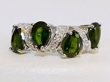 GENUINE 3.04cts! Chrome Diopside, 4 Stone Pear Cut Ring, Solid S/Silver 925!