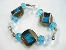 """Vintage Clear & Teal Gold Rimmed Chunky Flat Beads & Cut Rounded Bead Bracelet7"""""""