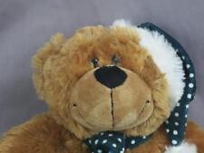 HUGSHUDSON TRAINING CINNAMON BROWN TEDDY BEAR POLKADOT CHRISTMAS HAT SCARF PLUSH