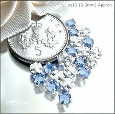 30 Swarovski ss12 Lt Blue Sapphire Vintage Rose Montees Sew On Crystals 12ss