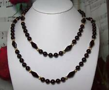 Black Onyx With 14k Gold Filled Beaded Necklace.B024