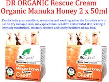 2 x 50ml Dr Organic Manuka Honey Rescue Cream Bioactive Intensive Restore Care