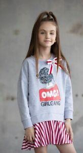 Mädchen Kleid Tunika Sweatkleid grau gestreift Girl  Gr. 98 - 164 Baumwolle NEU