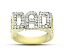9CT GOLD DAD RING CUBIC ZIRCONIA CZ DADA DADDY FATHER CURB LINK SIDE SOLID BAND