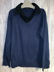 Boys Age 7 (6-7 Years) Next Fine Knit Jumper With Mock Shirt