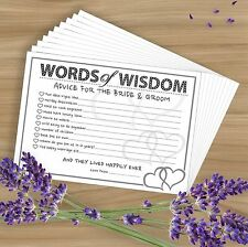 Words of Wisdom - 10 Premium Wedding/Marriage Advice Cards - Heart Design Game!