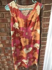 Talbots 6 Red Pink Floral Shift Dress LN EEUC V Neck