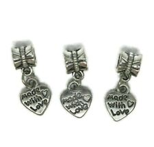 Tibetan Silver Charms Made With Love Beads Fit European Bracelet Dangle