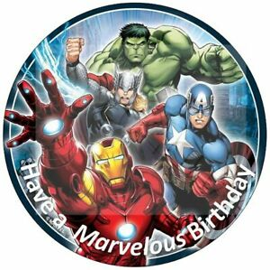 Marvel Avengers Edible Birthday Cake Topper With Personalised Message Iron Man