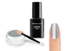 Mirror Chrome Silber Pigment STARTER SET Pulver Puder UV Finish Versiegler Nail