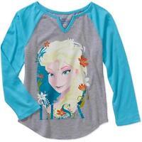 Disney Frozen ELSA Flowers Graphic Tee T-Shirt Top GRAY//BLUE Long Sleeve-NEW