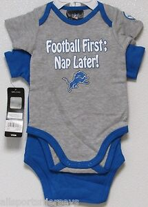 NFL Detroit Lions Onesie Set of 2 Football First; Nap Later! size 0-3M by Gerber