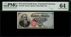 Fr-1376 $0.50 Fourth Issue Fractional Currency - 50 Cent Blue Right End PMG 64